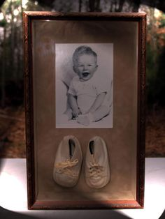 Shadowbox of Baby and First Shoes