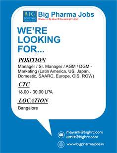 Pharma marketing manager jobs in bangalore