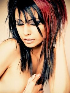 A long black straight coloured Multi-Tonal Rock-Chick hairstyle by Web Collections....Love the main piece of color!