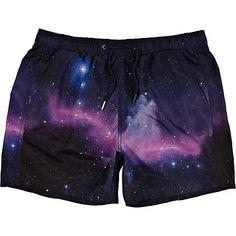 black space print swim shorts - swim shorts - shorts - men - River Island