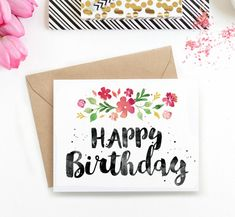 Printable Birthday Card - Spring Blossoms With its stunning brush lettering and watercolour florals, Birthday Cards For Her, Bday Cards, Birthday Greeting Cards, Birthday Greetings, Card Birthday, Birthday Ideas, Birthday Quotes, Easy Diy Birthday Cards, Drawn Birthday Cards