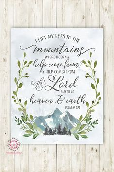 Psalm 121 I Lift My Eyes To The Mountains Woodland Wall Art Print Nursery Bible Verse Pine Trees Mountain Scene Boho Boy Girl Gender Neutral Kids Bedroom Trend Printable Decor - toile Bible Verse Painting, Nursery Bible Verses, Bible Verse Wall Art, Scripture Art, Bible Art, Bible Verse Calligraphy, Cute Bible Verses, Bible Verse Signs, Calligraphy Art