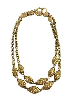 Chanel Chanel Quilted Oval Medallion Station Chain Link Necklace
