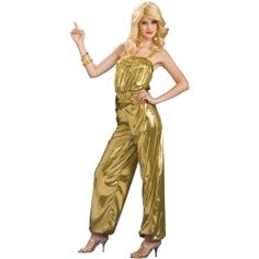 Shake your groove thing to this Disco Solid Golden Diva Standard Size Women's costume. showcasing a classic jumpsuit look from the era of afros, bell bottoms and discotheques. Features: Full Golden Jumpsuit Standard Size fits most Accessories not included 70s Halloween Costumes, 70s Costume, Halloween Outfits, Dance Costumes, Costume Craze, Costume Ideas, Disco Costume Diy, Halloween Clothes, Costume Parties