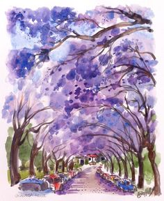 "Erin Hill says ""I did this 16 X 12inch painting yesterday. I'm still seeing Jacarandas in bloom and wanted to do a larger work. I used watered down dark watercolour - brown & dark blue mixed around, then used ..."""
