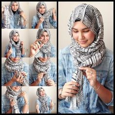 I have collected hijab styles step by step tutorial. It consists of steps required to wear beautiful hijab styles. These steps for hijab styles are easy. Tutorial Hijab Segitiga, Simple Hijab Tutorial, Stylish Hijab, Hijab Chic, Look Fashion, Hijab Fashion, Fashion Women, Modern Fashion, Fashion Dresses