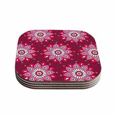 "Sarah Oelerich ""Raspberry Flower Burst"" Magenta Coasters (Set of 4) from KESS InHouse"