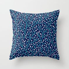 Gold Berry Branches On Navy Couch Throw Pillow by Cat Coquillette - Cover x with pillow insert - Indoor Pillow