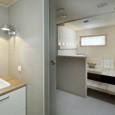 Beautiful light sauna and bathroom - moderni puutalo Nordic Home, Scandinavian Home, Electric Sauna Heater, Beautiful Lights, Sweet Home, Mirror, Interior Design, Bathroom, Furniture
