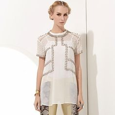 Erica.L Women's Crew Neck Heavy Beads Studded Vintage Semitransparent Dress More Colors