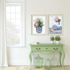 """Michelle Grayson on Instagram: """"I'm loving this green that's everywhere. At first I was a little hesitant as the deeper greens felt like a throw back to the heritage green…"""" White Art, Blue And White, Chanel Art, White Prints, Ginger Jars, Chinoiserie, Felt, Watercolor, Gallery"""