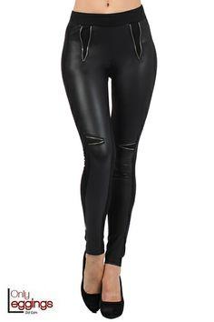 Zipper Accent Cotton Faux Leather Leggings - $32.00 at OnlyLeggings.com - #onlyleggings