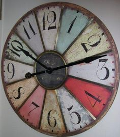 Home Decor, American Retro Vintage Tieyi Finishing Clocks French Antique Round Clock Nostalgic Quieten Extra Large With Rustic Themed With Some Color Red Pink Blue Green Yellow And White Color ~ Large Wall Clocks For Sale With Some Shape Design That Awesome For Your Wall