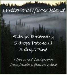Writer's diffuser blend – patchouli, rosemary, pine essential oils - Modern Pine Essential Oil, Patchouli Essential Oil, Essential Oil Diffuser Blends, Doterra Essential Oils, Young Living Essential Oils, Diffuser Recipes, Living Oils, Rollers, Survival Tips