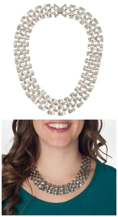 Piper Strand silver link necklace. I have this in gold, and I wear it all the time. So good on patterned work dresses.