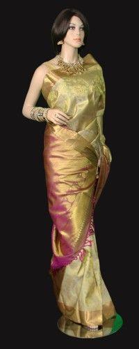 Beige all Gold Kanjeevaram Saree