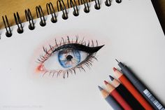 realistic drawing, eye