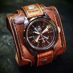 Leather cuff watch Drake Uncharted style wide by mataradesign