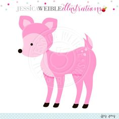 Pink Deer Digital Clipart - JW Illustrations