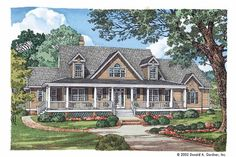 Farmhouse House Plan with 2665 Square Feet and 4 Bedrooms from Dream Home Source | House Plan Code DHSW41749 Farmhouse Front Porches, Country Farmhouse, Country Homes, Victorian Design, Victorian Fashion, 4 Bedroom House Plans, Country Style House Plans, Bonus Rooms, Guest Room