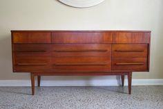Mid Century Modern Dixie Triple Dresser Credenza - Vintage Nine Drawer Dresser & Mirror - 1960s Eames Era Danish Credenza
