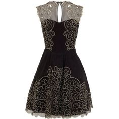Karen Millen Baroque cutwork lace dress (680 BRL) ❤ liked on Polyvore featuring dresses, vestidos, black dresses, short dress, black, women, mini dress, embroidered dress, embroidered lace dress and short prom dresses