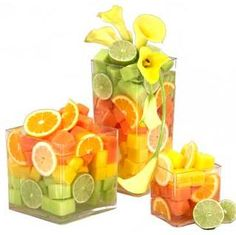 How about fruits as centrepieces and guests can have a piece once the party is done....
