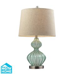 HGTV HOME Smoked Glass 1-light Pale Green Table Lamp | Overstock.com Shopping - Great Deals on HGTV HOME Table Lamps