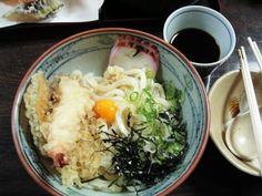 Bukkake udon with tempura, Kurashiki...my kind of food.
