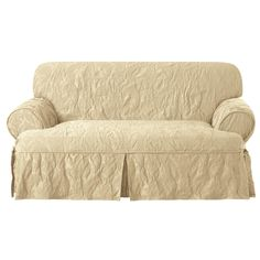Matelasse Damask Loveseat T-Cushion Slipcover