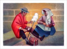 Louis TOFFOLI : Le couple Péruvien (La quenouille) - Lithographie originale signée et numérotée - 56x76cm - 1974 : Galerie 125