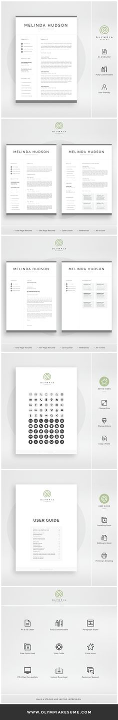 Creative  modern Resume / CV Template for Word AND Pages - 2 page resume template