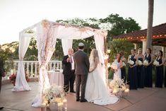 Jewish wedding under the chuppah - Wedding Garden Ceremony - Plaza de la Fontana - Orlando Area - Central Florida - Outdoor Wedding Ceremony Jewish Wedding Ceremony, Wedding Arches, Hotel Wedding, Outdoor Ceremony, Destination Wedding, Garden Wedding, Summer Wedding, Mission Inn, Chuppah