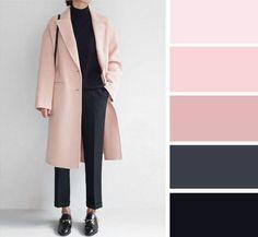 Blush and Black colour combination Colour Combinations Fashion, Color Combinations For Clothes, Fashion Colours, Colorful Fashion, Colour Pallete, Colour Schemes, Color Trends, Color Combos, Color Palettes