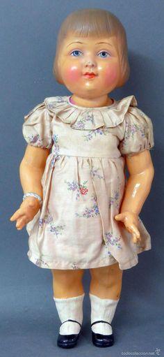 Muñeca francesa celuloide pintado años 30 marca espalda France 45 ropa original…