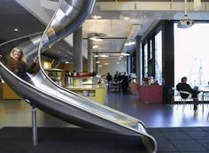 Slide installed in office complex, Zurich Switzerland. Zurich, Google Office, Future Office, The Office, Office Ideas, Office Designs, Office Decor, Office Fun, Google Headquarters