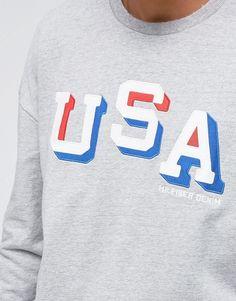 43d33c7ca9 Tommy Hilfiger Denim Crew Sweatshirt Oversized USA Applique in Grey Marl