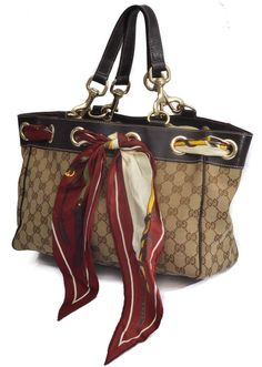 Gucci Positano Scarf Brown Canvas & Leather Tote