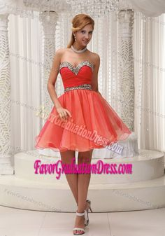 Strapless Mini-length Organza Junior Graduation Dress with Sweetheart in Orange