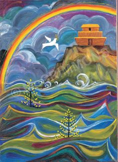 God's Promises: Noah and the Flood by The Benedictine Sisters of Turvey Abbey, part of a set of 12 available as and posters. Free accompanying book with a full set purchased. Bible Pictures, Spiritual Art, Hebrew Poster, Bible Art, Biblical Art, Art, Summer Camp Art, Jewish Art, Sacred Art