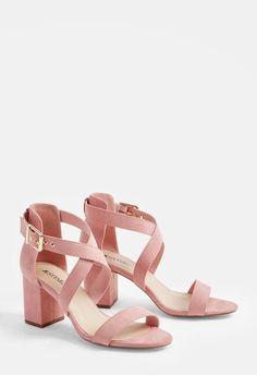 Sandalias de estilo chic en ante de imitación, con tacón bajo, tira cruzada  y