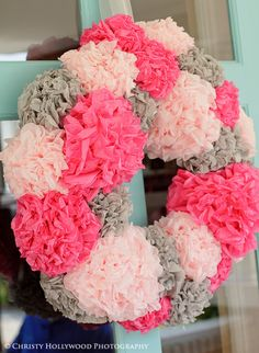 birthday bash, paper wreaths, christmas colors, valentine day, birthday parties, tissue paper flowers, paper pom poms, first birthdays, baby showers