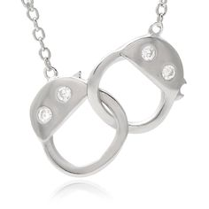Journee Collection Sterling Cubic Zirconia Handcuffs Necklace, Women's