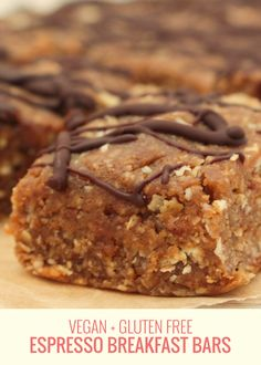 The most delicious naturally sweet breakfast idea. These Espresso Breakfast Bars are perfect for on-the-go and are vegan and gluten free. Breakfast Bars, Sweet Breakfast, Vegan Breakfast, Healthy Baking, Vegan Gluten Free, Espresso, Deserts, Dessert Recipes, Cooking