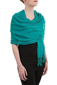 Opulent Luxury Pashmina Cashmere Scarf Shawl Wrap Soft Turquoise Green 80 x 30 -- For more information, visit image link.