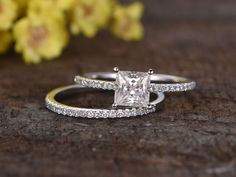 1 Carat Princess Cut Moissanite Engagement Ring Set Diamond Wedding Band 14k White Gold Art Deco Half Eternity