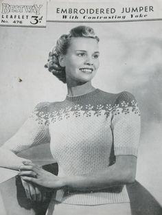 Bestway Knitting Pattern No. 476 1940's Jumper