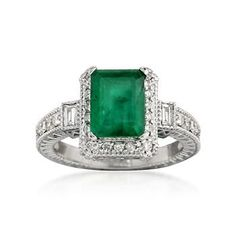 2.00 Carat Emerald and .50 ct. t.w. Diamond Ring in 14kt White Gold | #663704 @ ross-simons.com