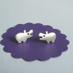 Sterling Silver Hippo Stud Earrings Kids Teens  BF Girl  Jewelry  Gift mom Christmas in July via Etsy