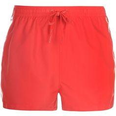 Calvin Klein Logo Tape Mens Swim Shorts ($55) ❤ liked on Polyvore featuring men's fashion, men's clothing, men's swimwear, mens swimwear, mens mesh swimwear, mens clothing, mens swim trunks and mens apparel